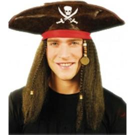 Sombrero con Pelo Pirata Caribeño