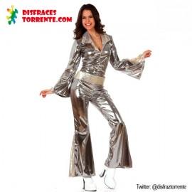 Disfraz Disco Gris Plata mujer