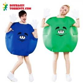 Disfraz de Caramelo M&M Pareja Azul y Verde