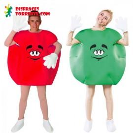 Disfraz de Caramelo M&M Pareja Rojo y Verde
