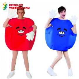 Disfraz de Caramelo M&M Pareja Rojo y Azul