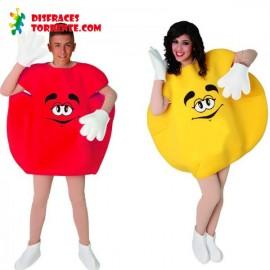 Disfraz de Caramelo M&M Pareja Rojo y Amarillo
