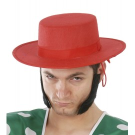 Sombrero Cordobes Fieltro Rojo