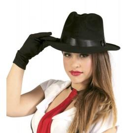 Sombrero de Ganster Negro con Cinta