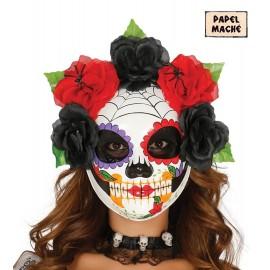 Careta de Esqueleto con Flores