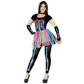 Disfraz de Esqueleto Multicolor Mujer