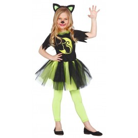 Disfraz de Gatita Verde para niñas